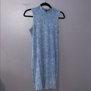 Blue acid washed turtle neck fitted dress
